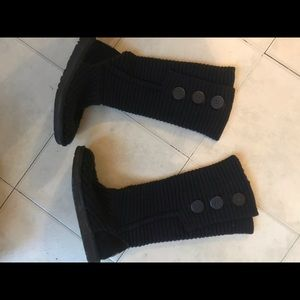 Ugg wool knit boots black size us 6